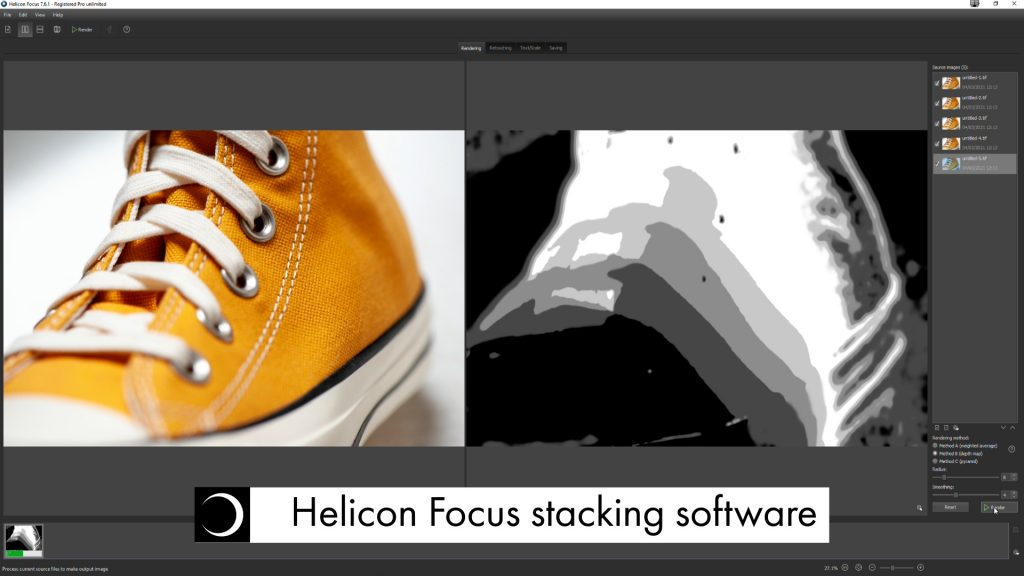 a screenshot of Helicon Focus image stacking software at work, taking multiple images with shifted focus points on the product and stacking them into one final image
